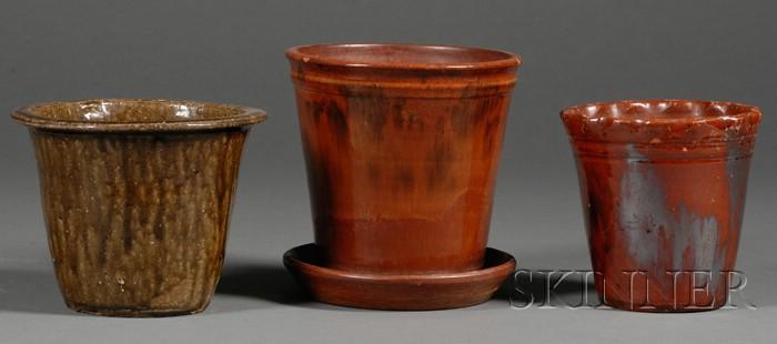 Three Redware Pottery Flowerpots