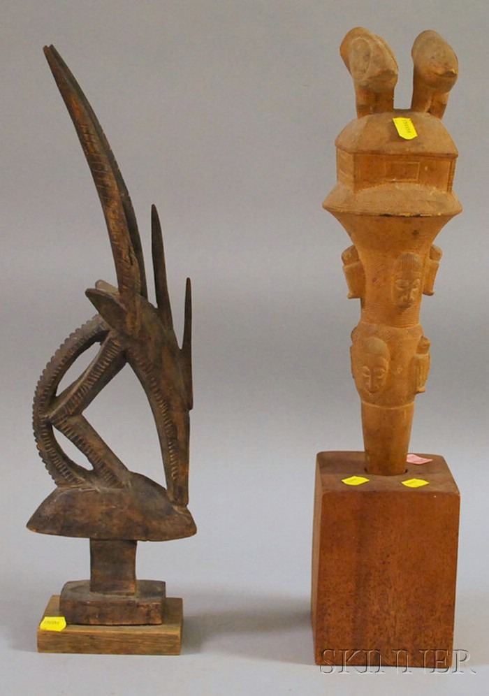 Ashanti Carved Wood Staff and a Chiwara Headdress