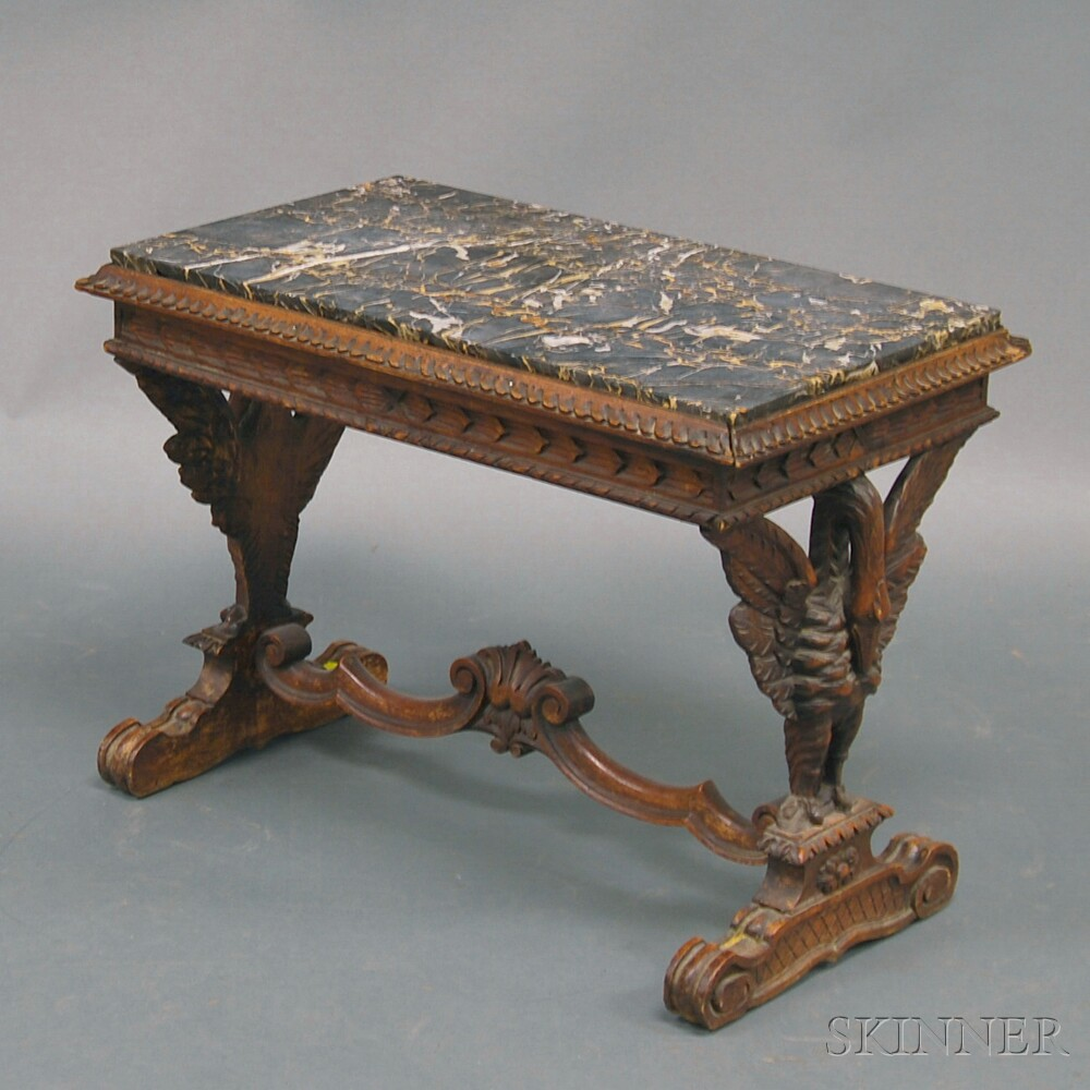 Late Victorian Eagle-carved Marble-top Table