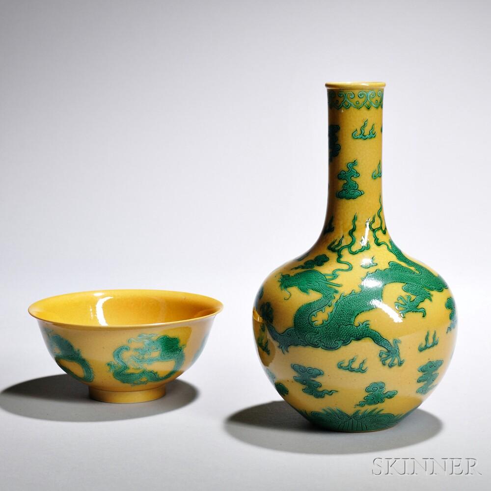 Yellow-glazed Dragon Bowl and Vase