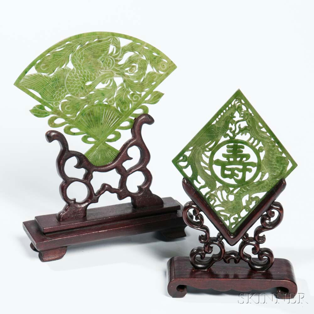 Two Jade Plaques with Wood Stands