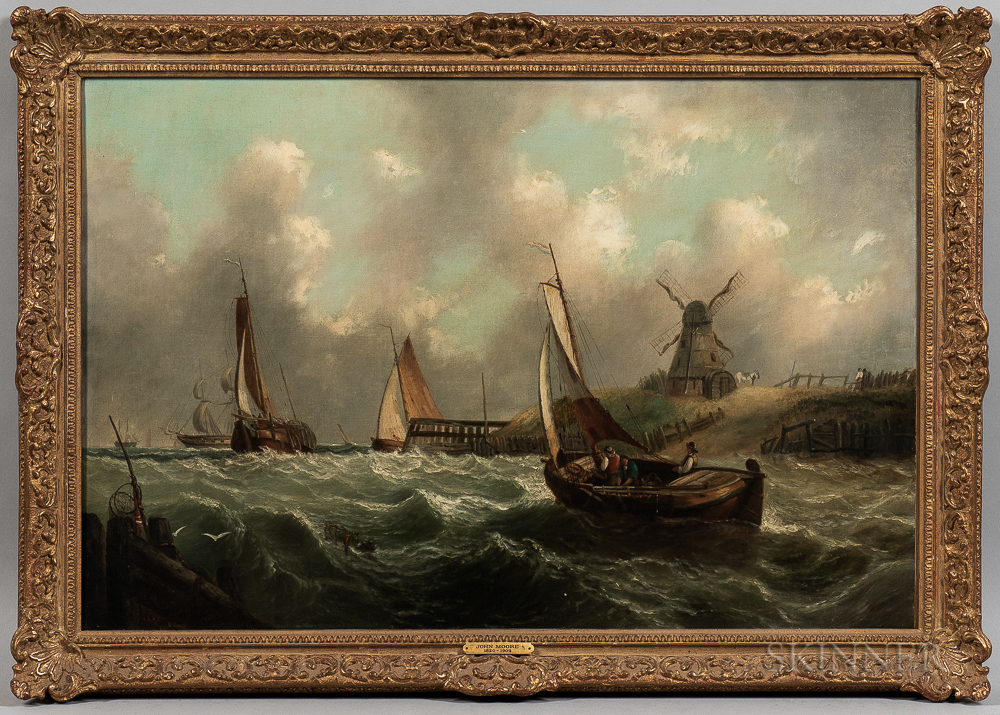 John Moore of Ipswich (British, 1820-1902)      Man of War and Fishing Boats of Southwold Harbour, Windmill and Figures