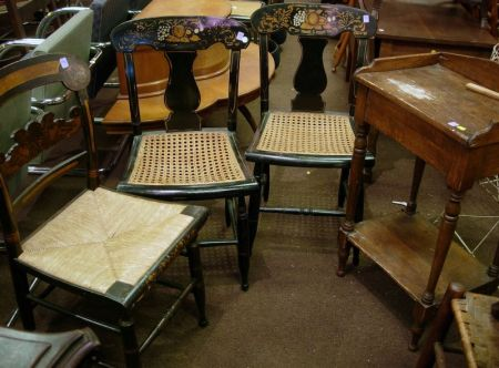 Near Pair of Black Painted and Stencil Decorated Side Chairs, a Single Chair, and a Pine Wash Stand.