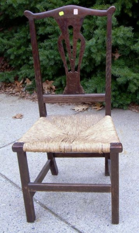 Country Chippendale Oak Side Chair.