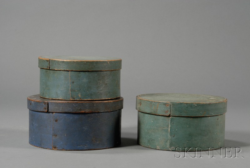 Three Round Wooden Blue-painted Lapped-seam Covered Pantry Boxes