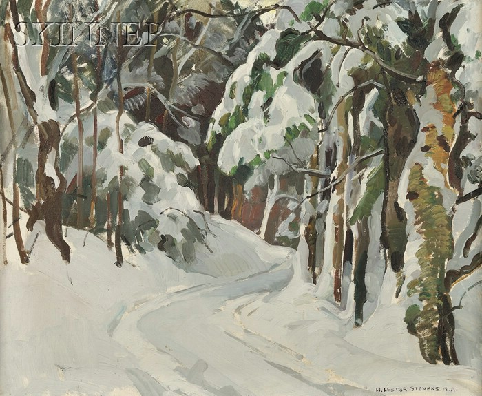 William Lester Stevens (American, 1888-1969)      Path through the Trees in Winter