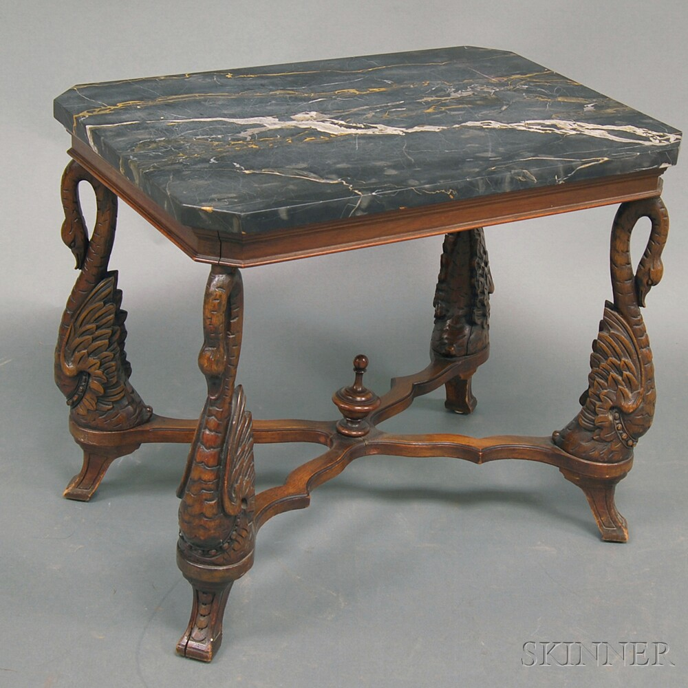 Late Victorian Swan-carved Marble-top Table