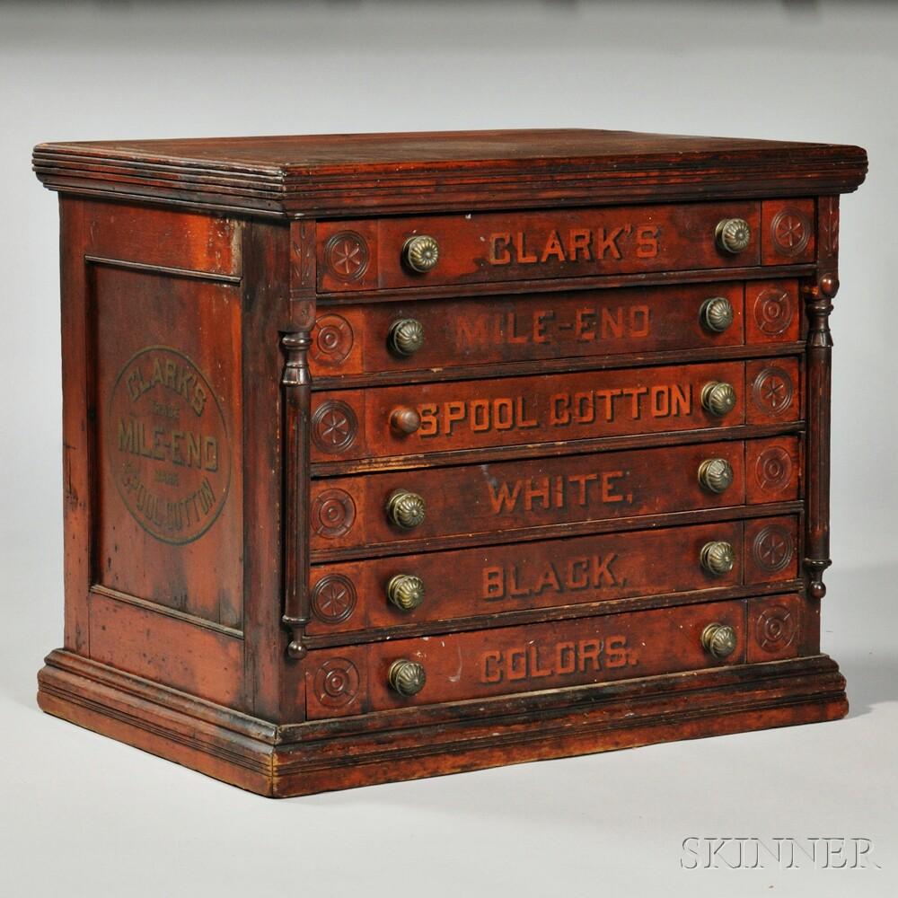 Clarku0027s Stenciled Poplar Spool Cabinet ...
