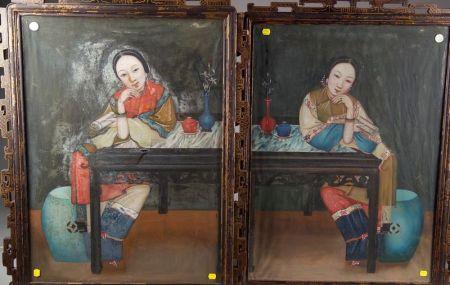 Pair of Reverse Glass Paintings