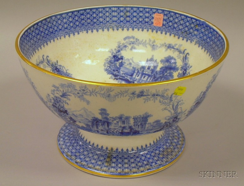 Large English Blue and White Transfer The Gem Pattern Footed Punch Bowl