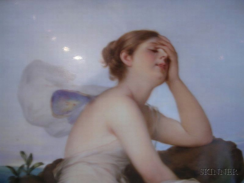 Berlin Painted Porcelain Plaque of Psyche Mourning by the Sea