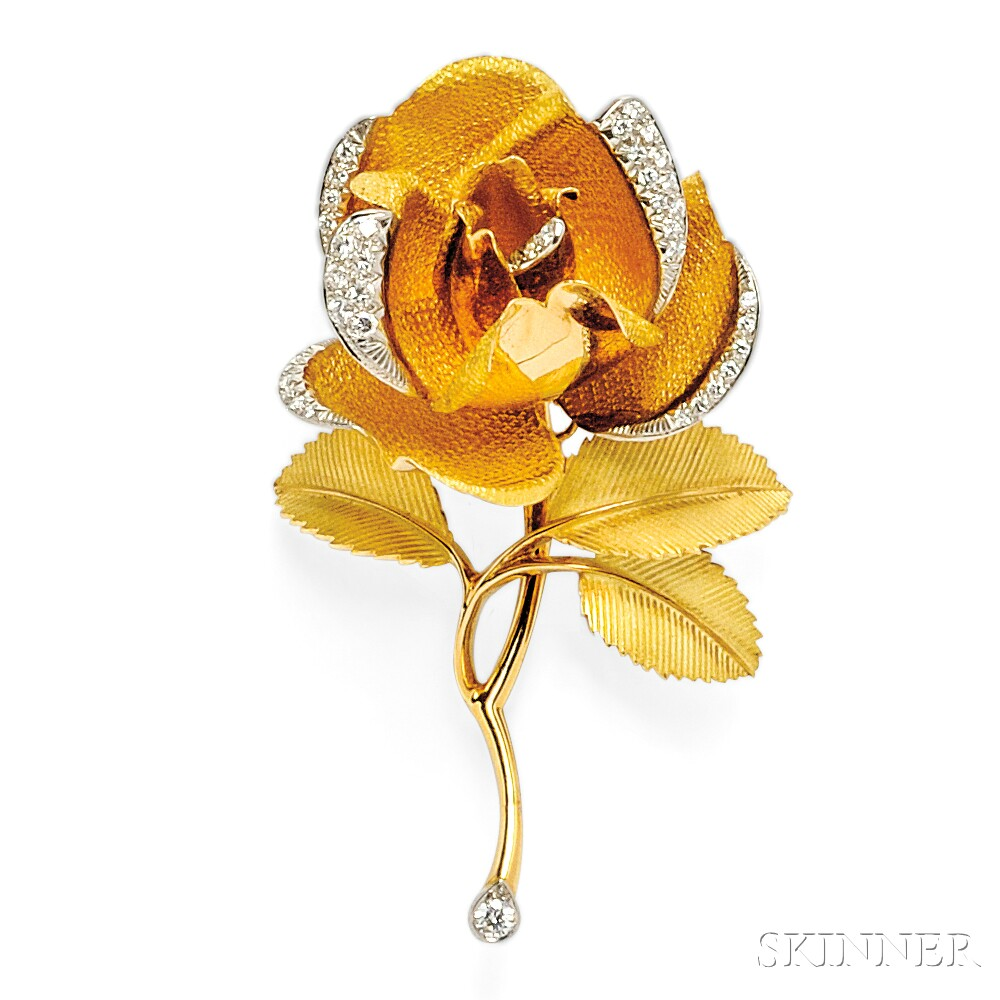 18kt Gold and Diamond Rose Brooch
