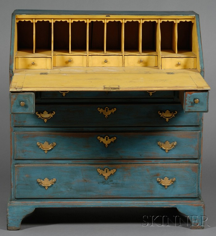 Chippendale Blue- and Yellow-painted Cherry Slant-lid Desk
