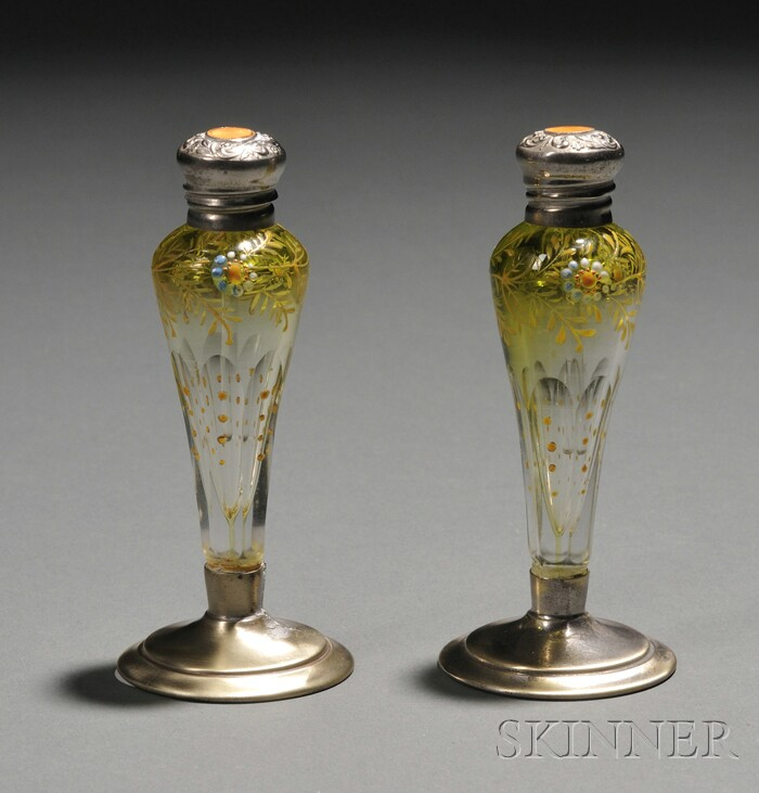 Pair of Enameled Glass and Silver Perfumes