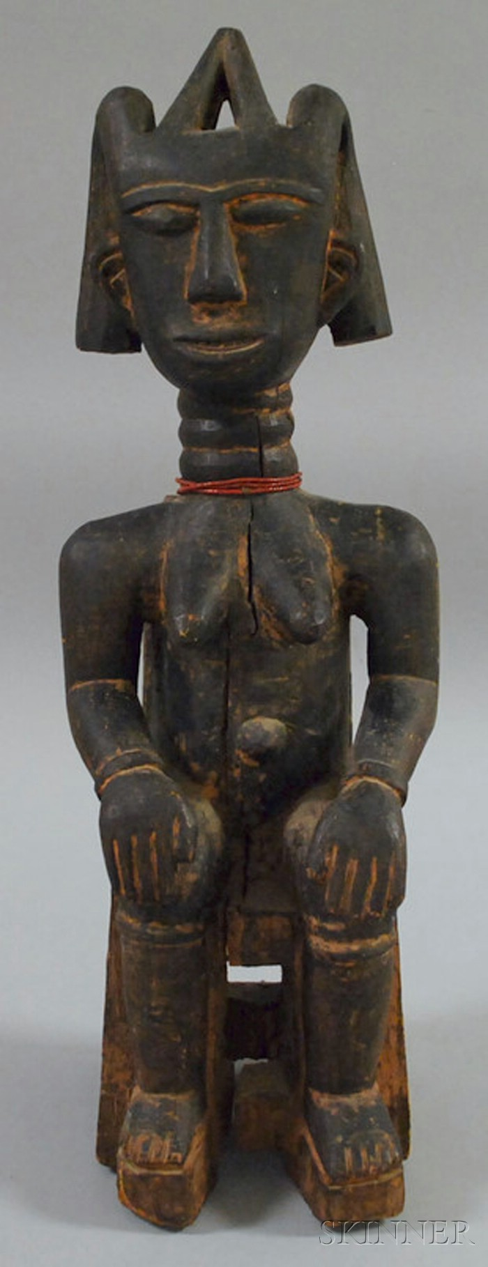 African Carved Wooden Seated Female Figure