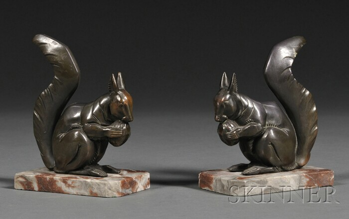 Pair of Art Nouveau Squirrel-form Bookends
