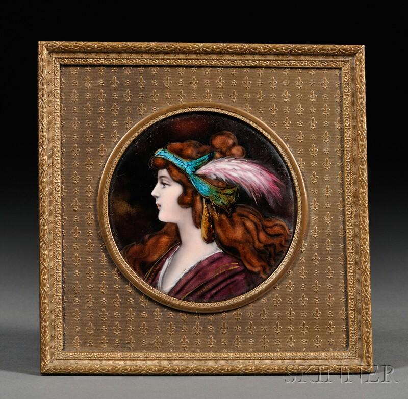Framed Enamel Portrait Roundel of a Girl