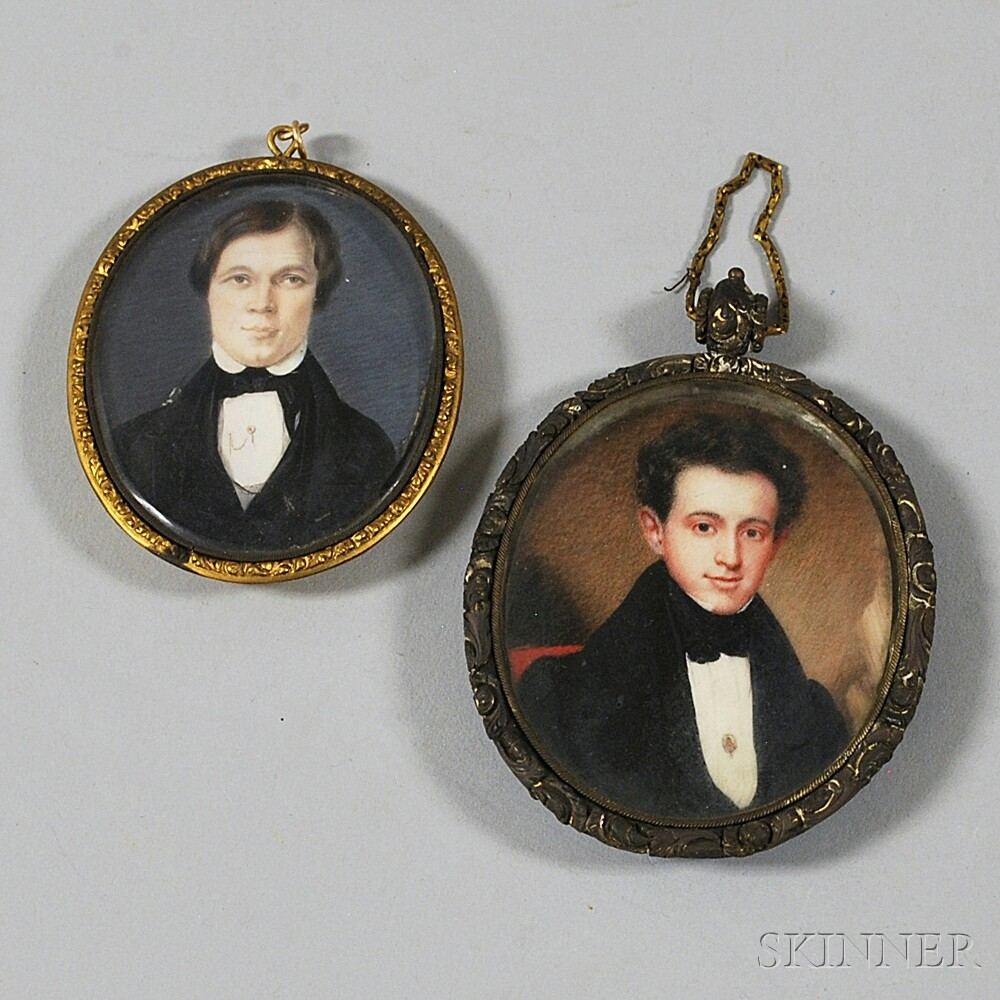 Two Portrait Miniatures of Young Men