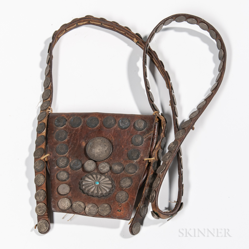 Navajo Leather Pouch with Coin Decoration