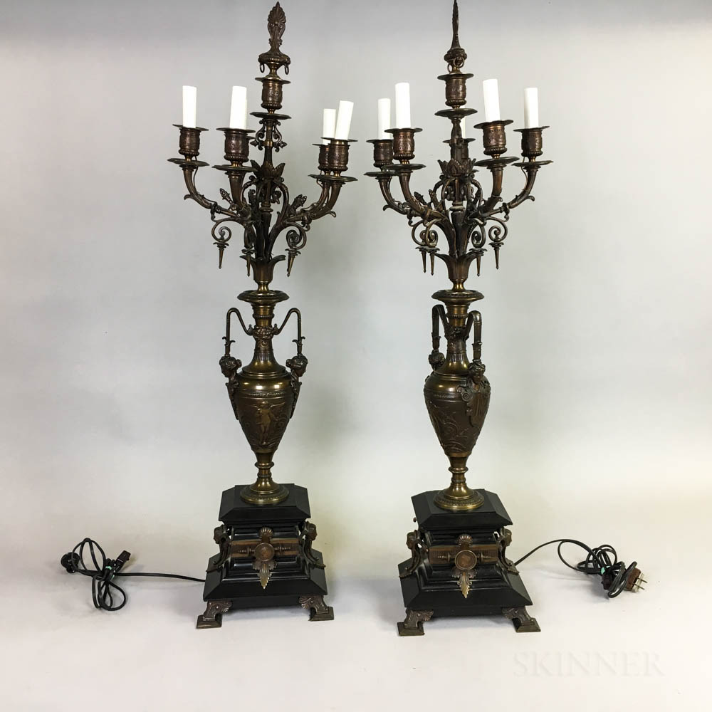 Pair of Renaissance Revival Bronze and Marble Candelabra