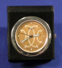 Stainless Steel and Leather Travel Clock, Hermes
