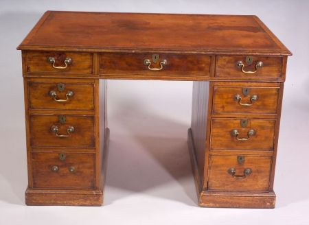 George III Mahogany and Leather-top Pedestal Desk