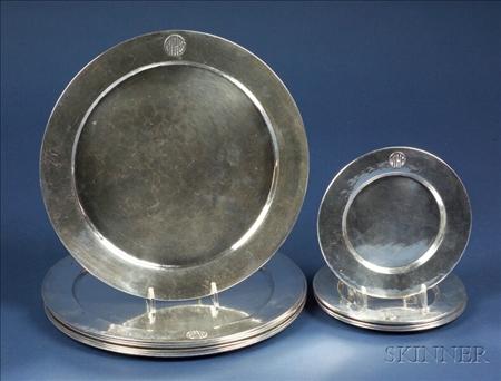Set of Thirteen LeBolt Arts & Crafts Hammered Sterling Plates