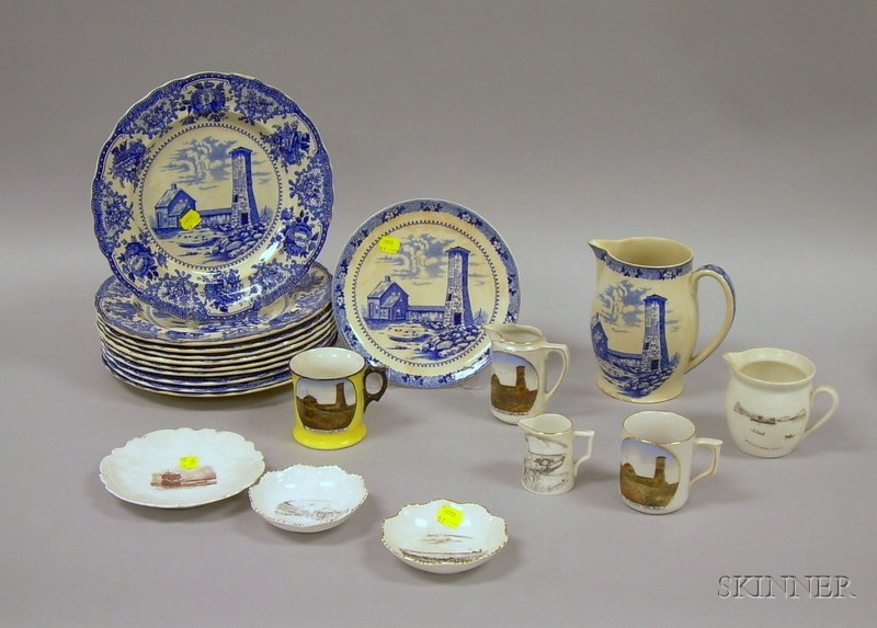 Set of Ten Adams Blue and White Old Scituate Light Dinner Plates, a Jug and Plate, and Five Scituate Souvenir P...