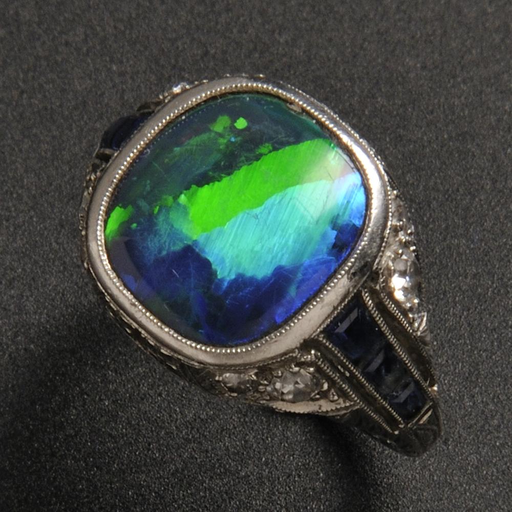 Art Deco Platinum Black Opal Sapphire And Diamond Ring