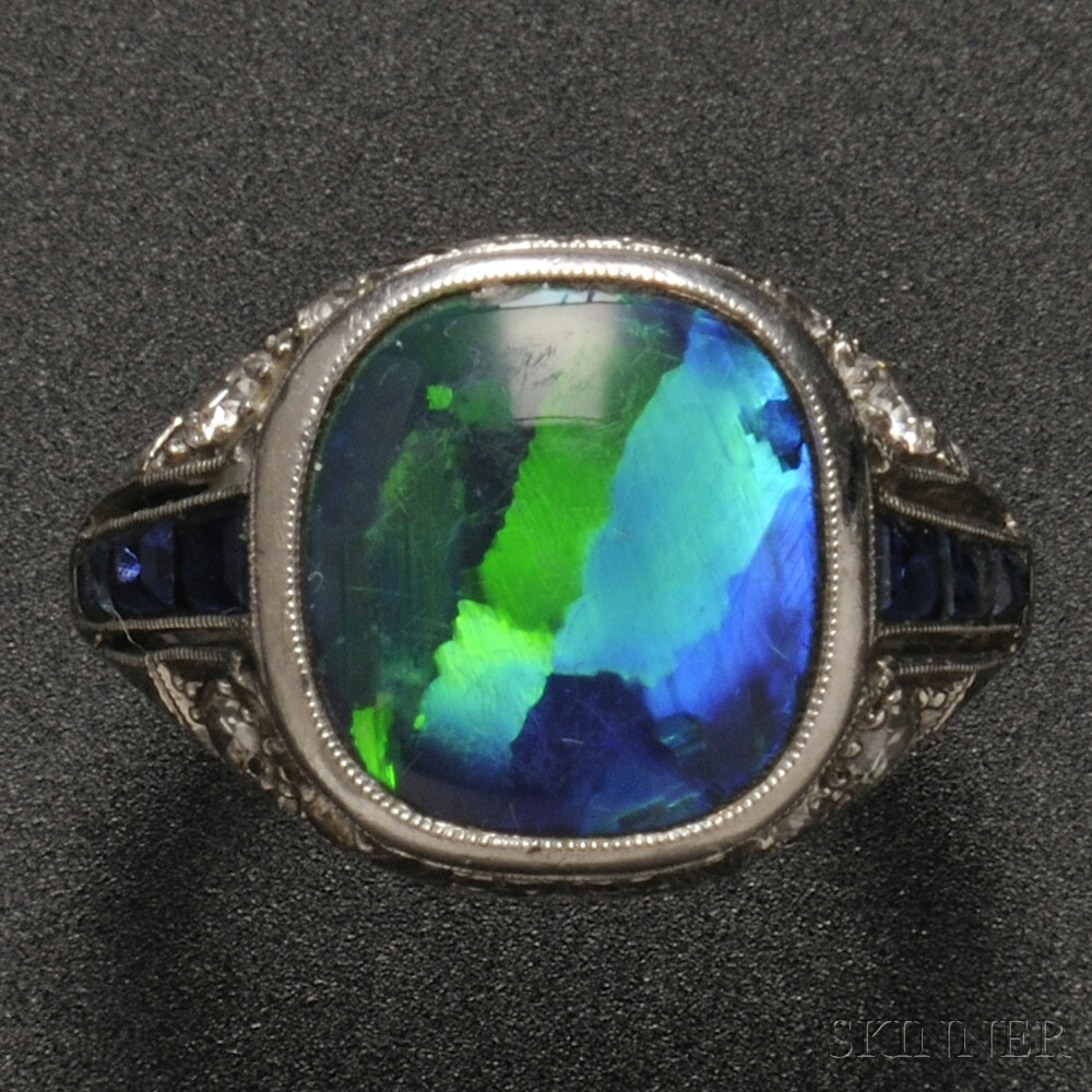 Art Deco Platinum Black Opal Sapphire And Diamond Ring