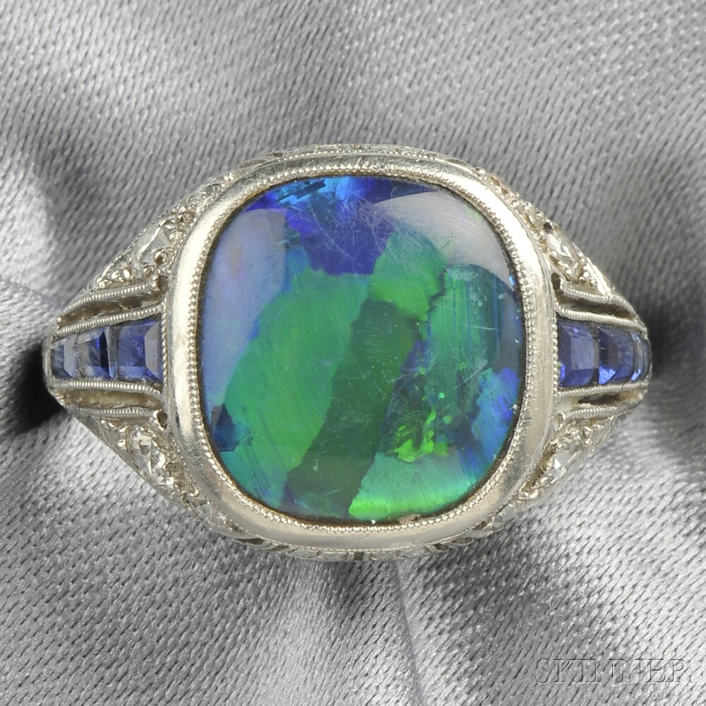 Art Deco Platinum Black Opal Sapphire and Diamond Ring Tiffany & Co