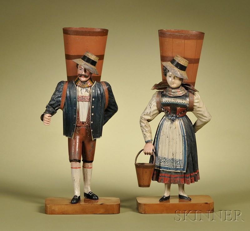 Pair of Rock & Graner Figural Mantel Vases