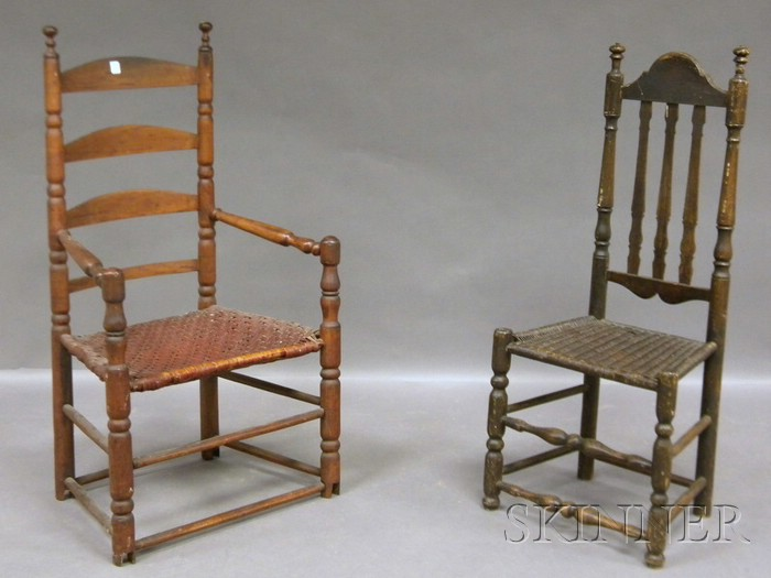 Bannister-back Side Chair and a Ladder-back Armchair with Woven Splint Seat.