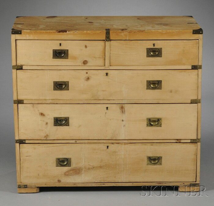 Brass-mounted Pine Campaign Chest