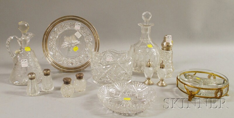 Thirteen Colorless Cut Glass Table Articles
