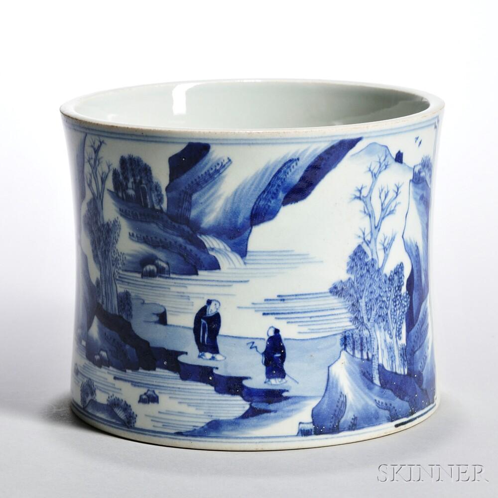 Blue and White Bitong   Brush Pot