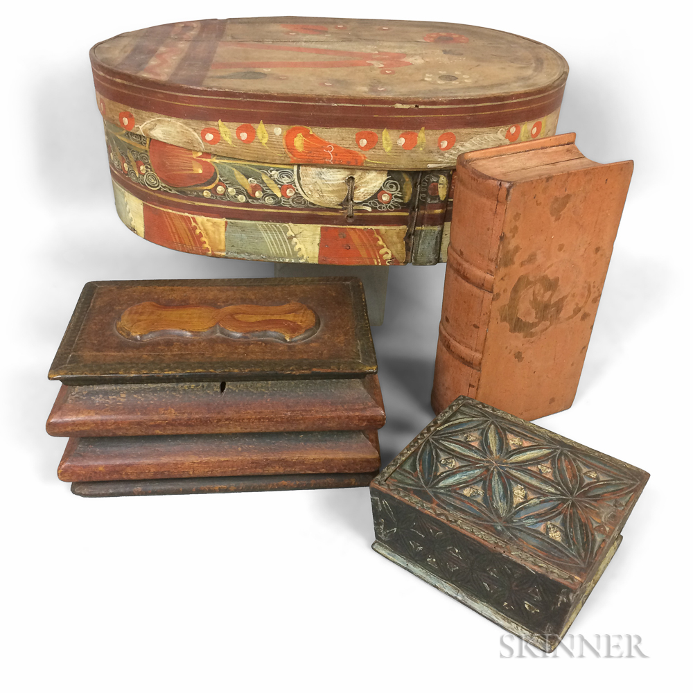 Four Painted Wood Boxes