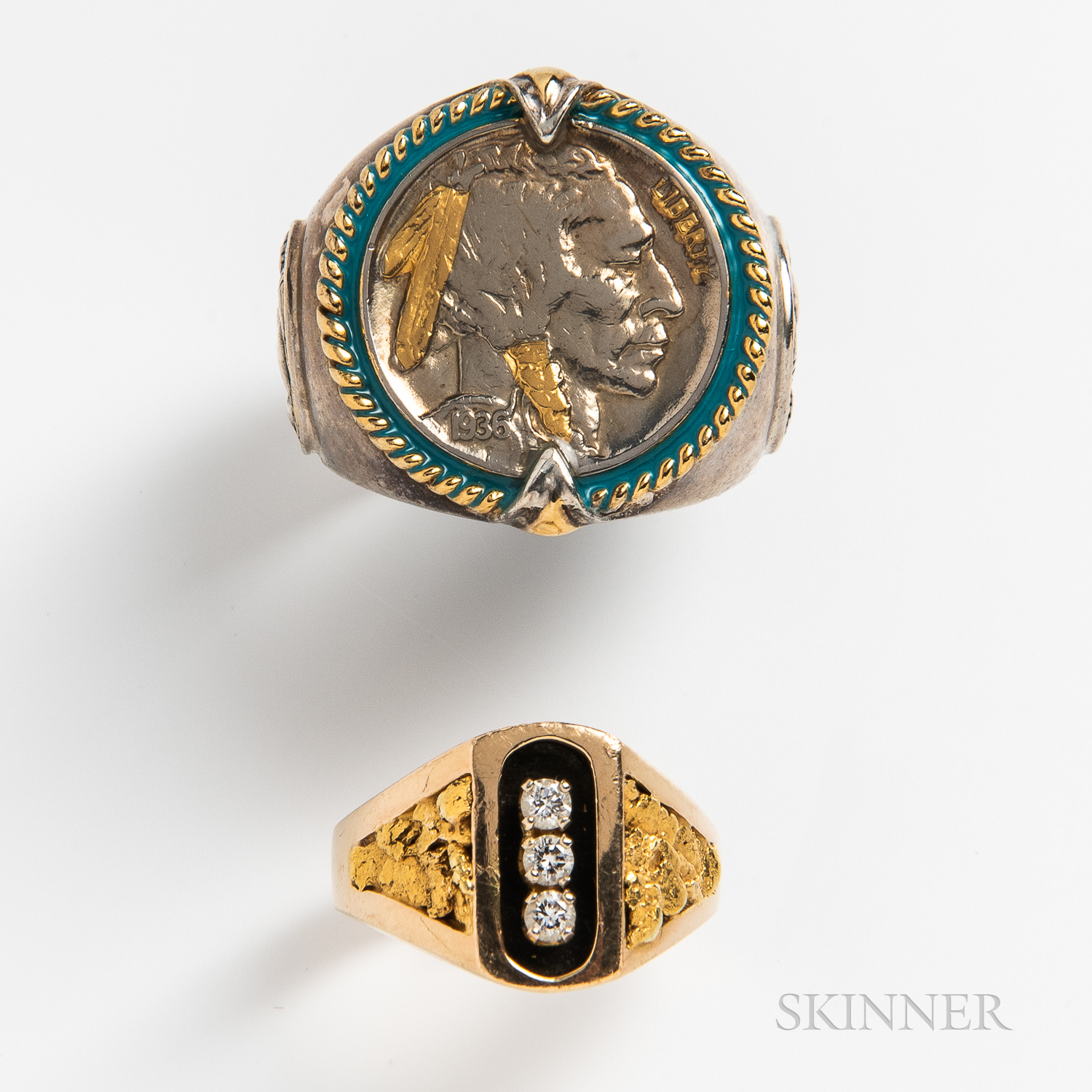 14kt Gold and Diamond Ring and a Sterling Silver and Enamel Buffalo Head Nickel Ring