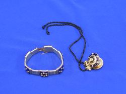 Gold and Blue Enamel Bracelet and a Pendant.