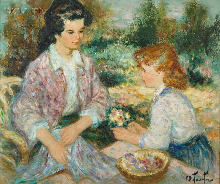 Pierre Eugène Duteurtre (French, b. 1911)      Mother and Daughter in the Garden