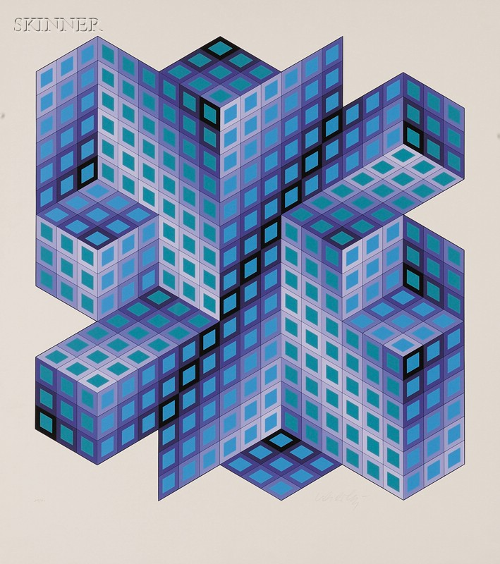 Victor Vasarely (French/Hungarian, 1908-1997)      Lot of Two Impressions: Untitled (Purple Cubic Forms)