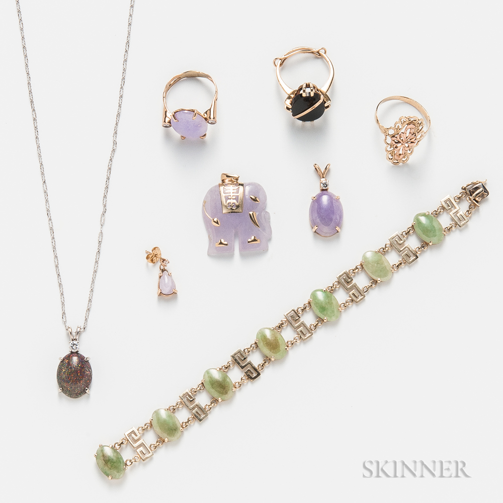 Group of Hardstone-set Jewelry