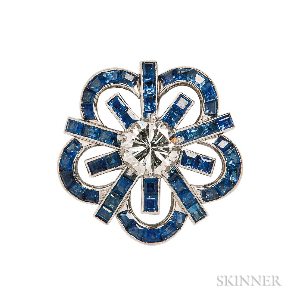 Platinum, Diamond, and Sapphire Clip/Brooch, Cartier
