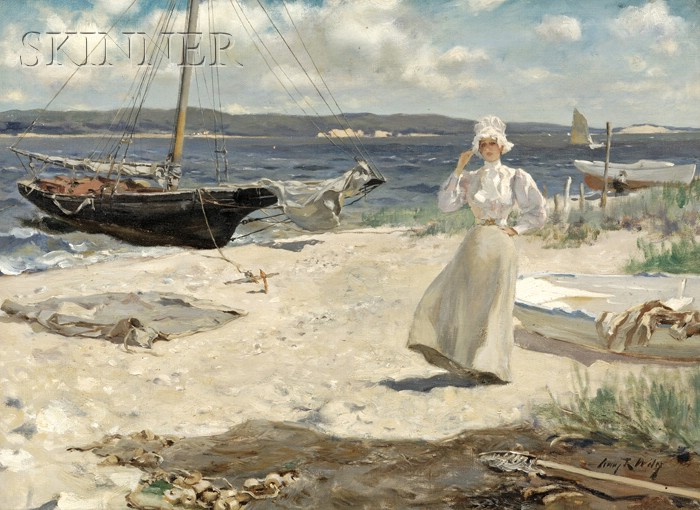 Irving Ramsey Wiles (American, 1861-1948)      A Walk Along the Harbor Shore