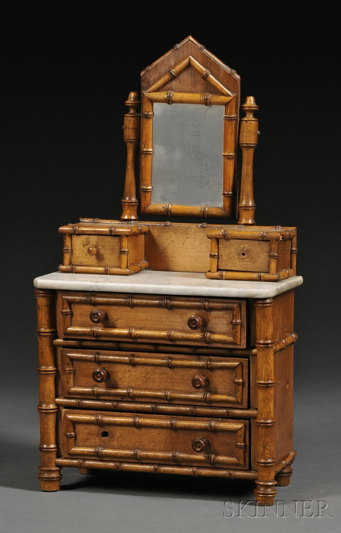 Miniature Faux Bamboo and Marble-top Dresser with Mirror