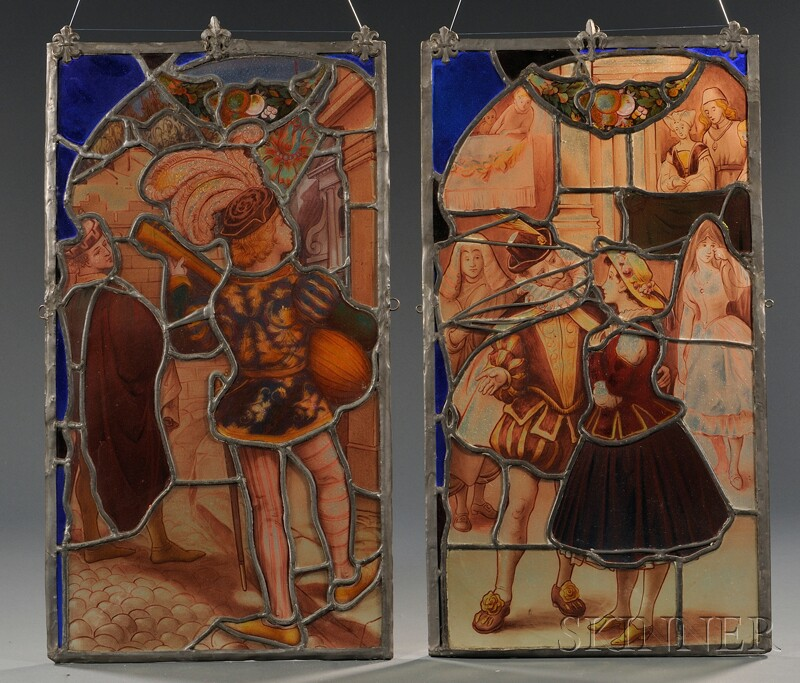 Pair of Leaded, Painted, and Stained Glass Panels