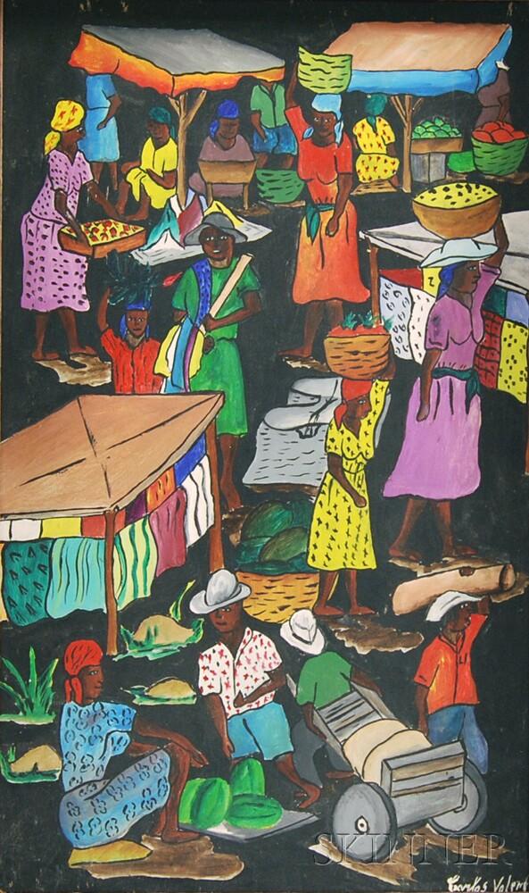 Haitian School, 20th Century      Market Scene.