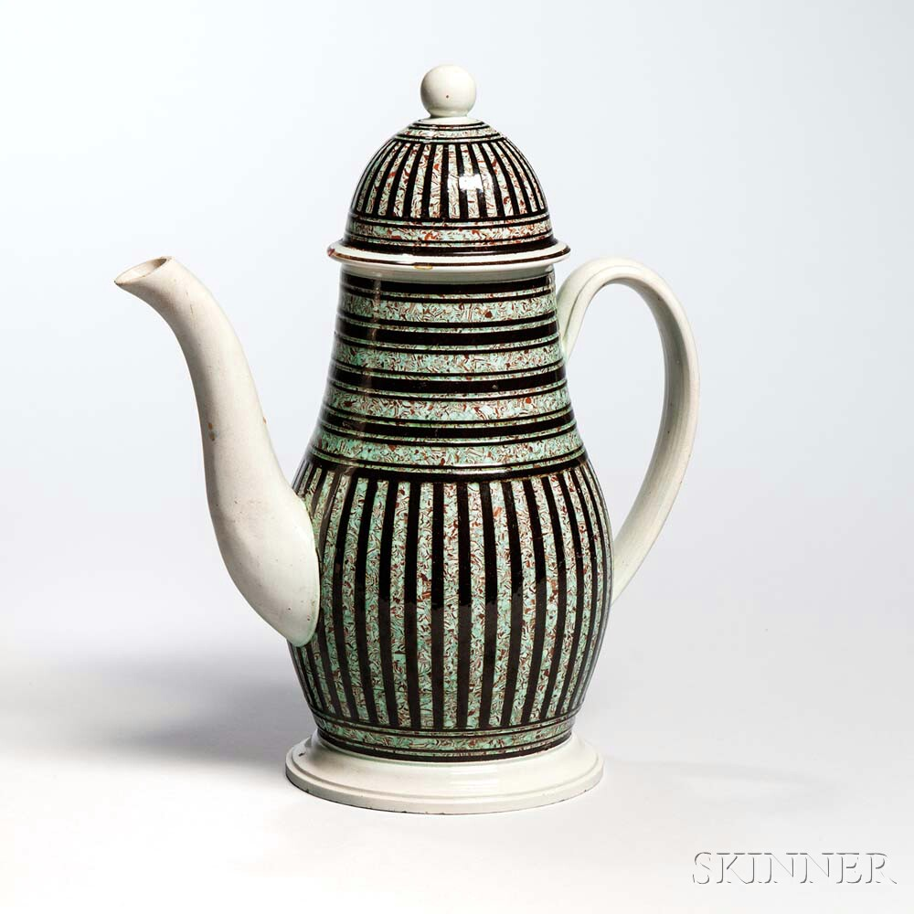 Pearlware Coffeepot and Cover