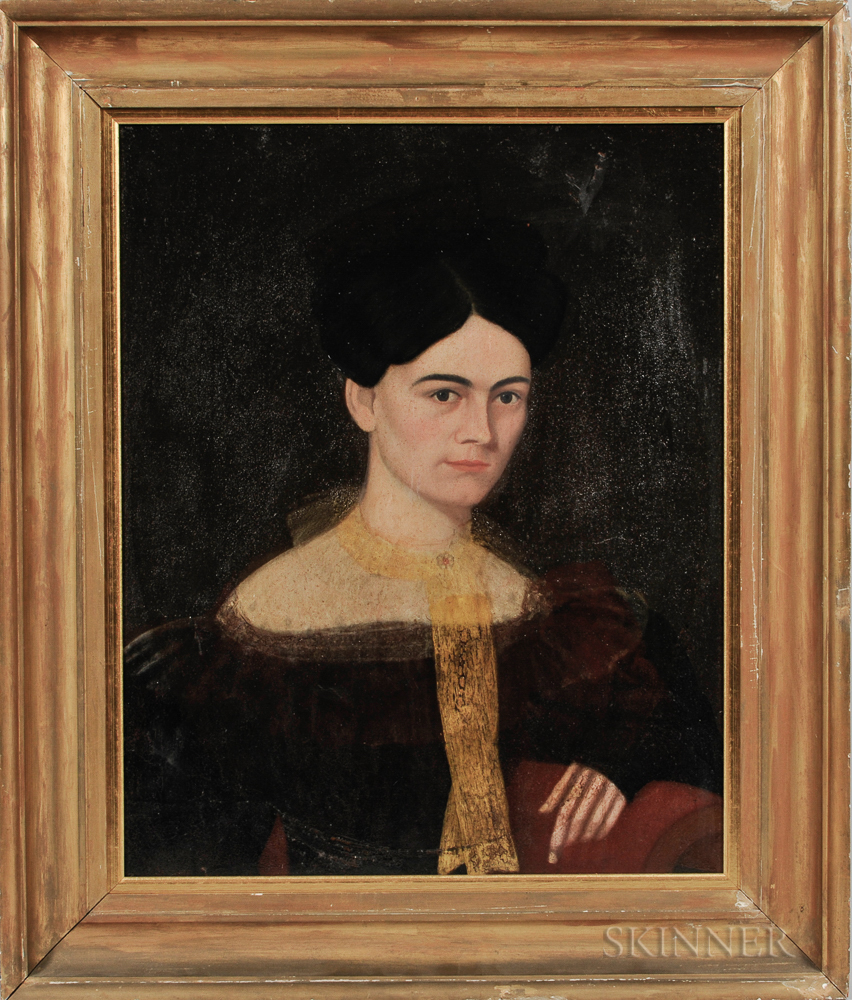 American School, 19th Century      Portrait of a Woman with a Yellow Scarf