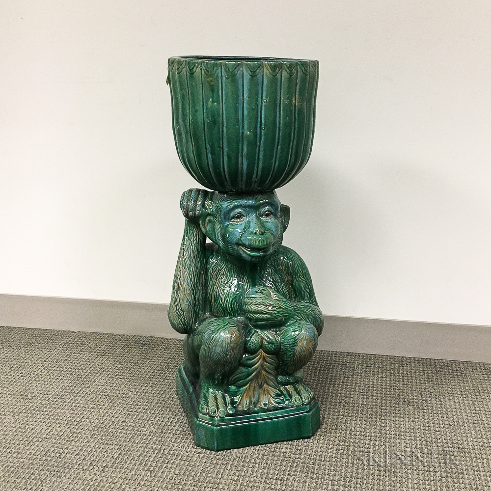 Green-glazed Ceramic Jardiniere on Monkey-form Pedestal